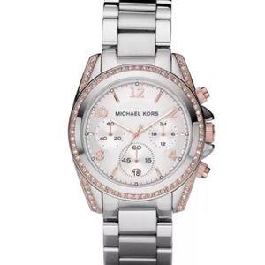 Michael Kors Blair Rose Gold watch silver