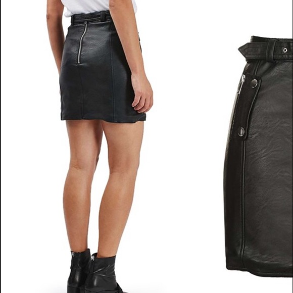 Topshop Skirts - TopShop Faux Leather Belted Mini Skirt