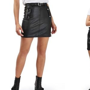 TopShop Faux Leather Belted Mini Skirt