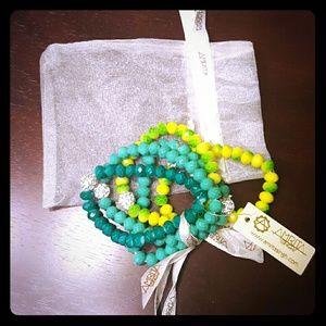 Amrita Singh Jewelry - Jewel tone beaded bracelet stack