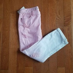NWT Pink & White Ombre Ripped Vanilla Star Jeans