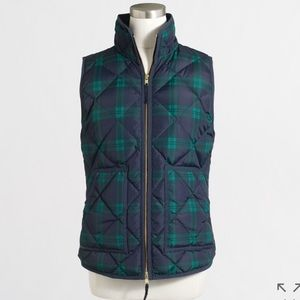 J. Crew Jackets & Blazers - NWT PRINTED QUILTED PUFFER VEST SIZE L PLAID