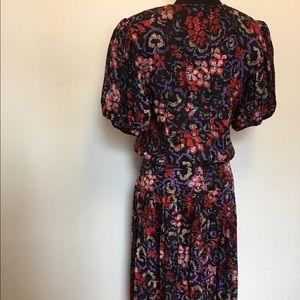 Vintage Dresses - Vintage Floral 100% Silk Puff sleeve dress
