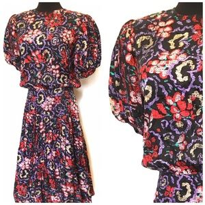 Vintage Floral 100% Silk Puff sleeve dress