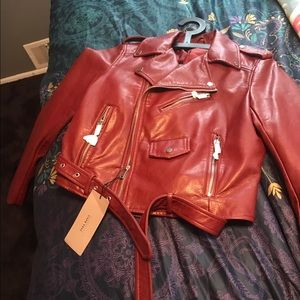 Zara Jackets & Blazers - Zara Red Leather Jacket BNWT Size. Medium