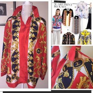 Vintage silk scarf print blouse horseshoe red