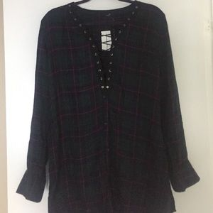Tops - Brand new lace up front long plaid shirt