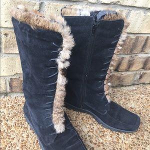 Shoes - Black suede fur lined boots. Excellent condition.