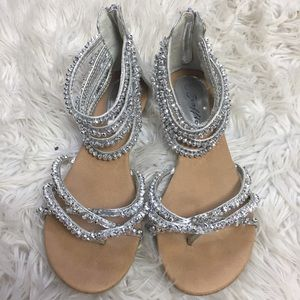 Traffic Shoes - Silver rhinestone sandals worn ONLY ONCE