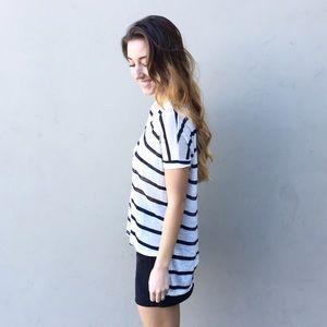 Tops - | new | striped hi low tee