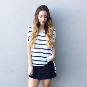 striped hi low tee