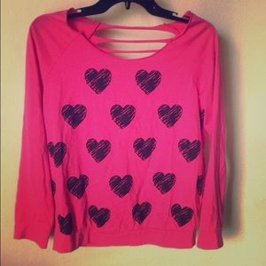 Hard Candy Tops - Pink Heart Shredded Back Top