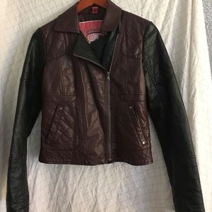 Collection B Jackets & Blazers - Brown and Black Fake Leather Jacket Size Small
