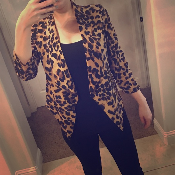 55895c0d381a Foreign Exchange Jackets & Blazers - Leopard Print Waterfall Drape Front  Jacket Small