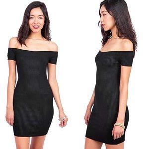 Ambiance Black Ribbed Off Shoulder Dress