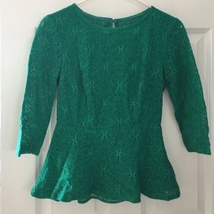 Anthropologie Green Lace Peplum Blouse