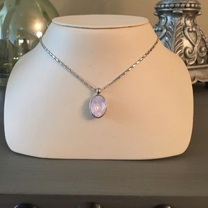  Rose Pink Silver Jeweled Necklace