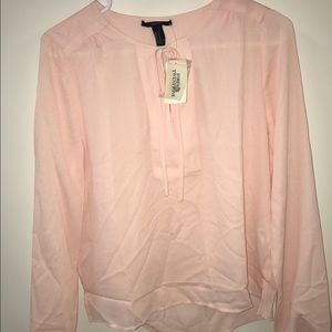 Brand New Forever 21 Tie-Neck Crepe Blouse
