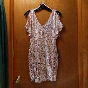 Cold shoulder sequined dress