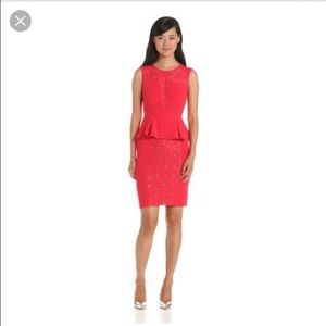 BCBG MaxAzria Ives Red Lace Tiered Peplum dress