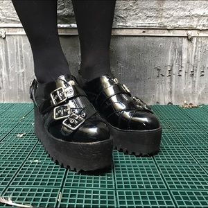 Jeffrey Campbell patent leather buckle creepers