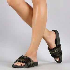 SARAH SIAH  Shoes - Metallic Faux Fur Slide Sandal