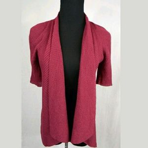 Eileen Fisher Wool Short Sleeve Open Cardigan PM