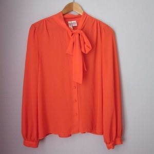 Moon Collection Tops - Alice moon orange pussy bow blouse