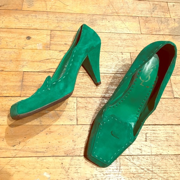 9c6c89aac96 Saint Laurent Shoes | Kelly Green Ysl Heeled Loafers | Poshmark