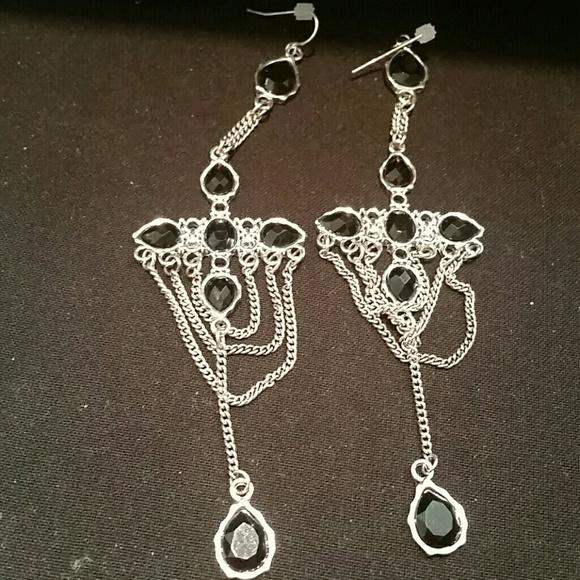 Black Stone Earrings: 2 Pr Pretty Black Stone Chandelier Earrings OS From Diane