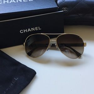 CHANEL Accessories - Chanel Quilted Pilot Sunglasses