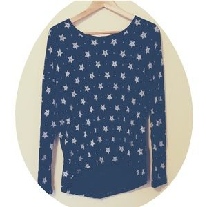 Hippie Rose Tops - Star Print Cotton Long Sleeve Tee