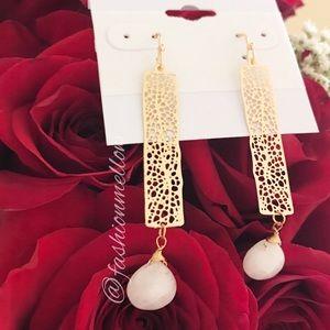 Farah Jewelry Jewelry - Gemstone bar cut out earrings