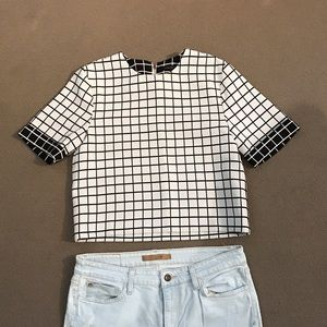 English Factory Tops - Grid pattern, boxy crop top