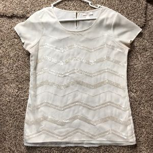 Loft Cream Blouse with Sparkly Stripes- Size S