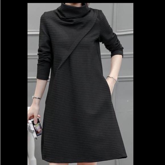 Modlily Dresses High Neck Long Sleeve Pocket Design Black Dress