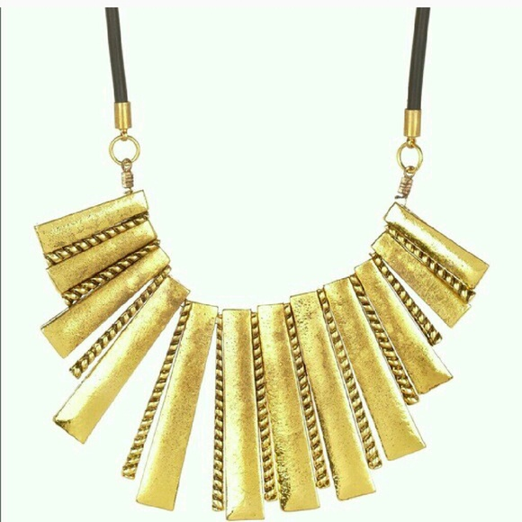 T&J Designs Jewelry - Gold & Faux Leather Boho Style Necklace