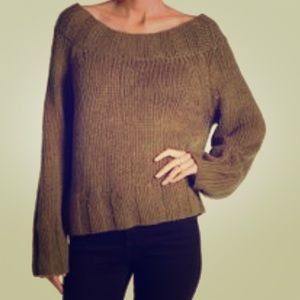 Free People slouchy sweater in olive green