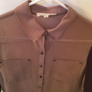 Double Zero Tops - 8/$25 NWT Brown purple sleeve sheer ls blouse sz s