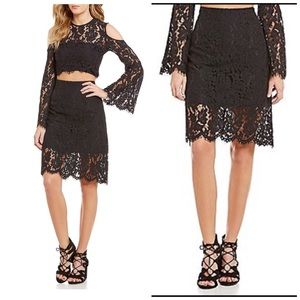 Keepsake Solid Scallop Lace A- Line Skirt