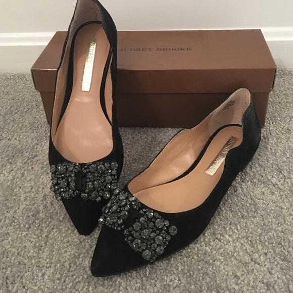 Audrey Brooke Shoes Black Evening Flats With Jewels Poshmark