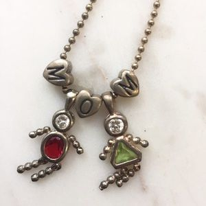 Son and Daughter Charm Necklace for Mom