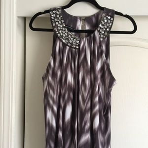 INC 1X sleeveless top, w/rhinestones @ neckline 