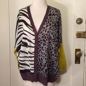 Cecico Sweaters - Cecico oversized animal print boyfriend cardigan