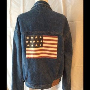 👔HP 2-6👔Polo Denim Jacket with American Flag