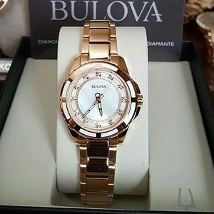 NWT Bulova diamond Rose tone watch