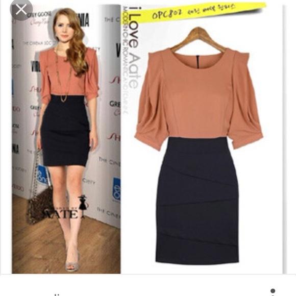aaf94ba9eb Meng Fei Lu Dresses | Coral And Navy Skirt Shirt Combo Dress | Poshmark