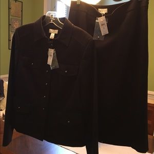 NWT Ann Taylor Loft two piece navy skirt suit