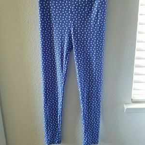 OS Lularoe leggings in blue with white polka dots