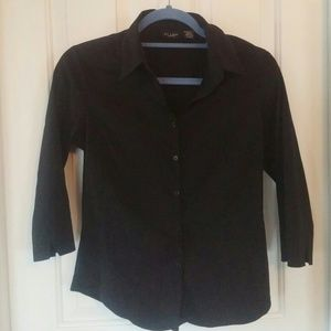 At Last Tops - Black 3/4 sleeved button-down top